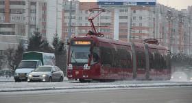 В Казани трамвай пятого маршрута грубо нарушил ПДД